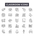 classroom line icons signs set outline vector image vector image