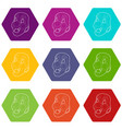 clown mask icons set 9 vector image