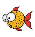 colorful silhouette blowfish aquatic animal vector image vector image