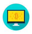 computer bitcoin circle icon vector image
