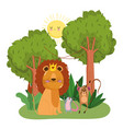 cute animals lion monkey and opossum trees foliage vector image