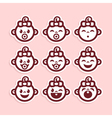 cute bagirl icons vector image vector image