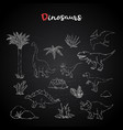 dinosaurus setcollection with plant on chalk vector image