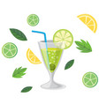 drink margarita cocktail lemon background i vector image