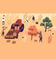 family farmers picking seasonal fruits at vector image vector image