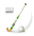 field hockey competitive game and equipment vector image vector image