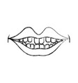 figure happy mouth with teeth design icon vector image
