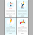 fitness and healthy lifestyle online web pages vector image