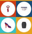 flat icon garment set of heeled shoe stylish vector image vector image
