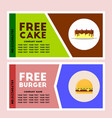 free burger and cake coupon vector image vector image