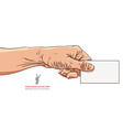 Hand giving business card detailed vector image vector image