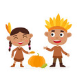 happy thanksgiving day indian boy and girl vector image vector image