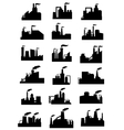 Industrial factories and plants black icons vector image