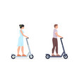 man and woman riding electric scooters vector image vector image