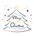merry christmas hand lettering fir tree star vector image