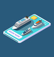 mobile app for booking cruise with ship or yacht vector image vector image