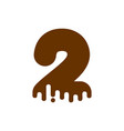 number 2 chocolate font sweetness numeral two vector image vector image
