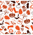 october month theme set of icons seamless pattern vector image vector image