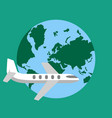 plane travel aroun the world vector image vector image