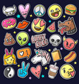 pop art fashion patches pins badges stickers vector image