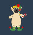 pug in elf costume vector image vector image