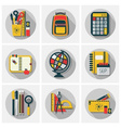 school stickers icons set with long shadow vector image vector image