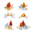 set autumnal floral cards with abstract leaves vector image
