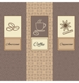 Set linearornament package brochures coffee vector image