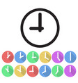 set of clock icon flat design stock vector image vector image