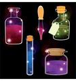 Set of laboratory flasks on black background vector image