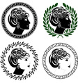 set of roman woman profiles vector image vector image
