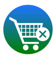shopping cart with delete sign white icon vector image vector image