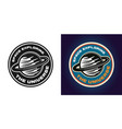 space exploring emblem black and colored vector image vector image