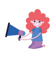 teen with megaphone marketing social media vector image