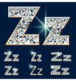 Ultimate alphabet of diamonds and platinum ingot vector image vector image