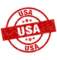 usa red round grunge stamp vector image vector image