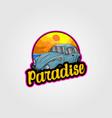 vintage car logo for summer vacation vector image vector image