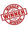 winner round red grunge stamp vector image vector image