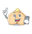 with phone chickpeas character cartoon style vector image vector image