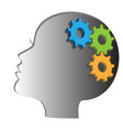 woman head with gears and cogs thinking process vector image