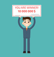 You are winner Winner man holding check vector image vector image
