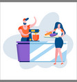 young loving couple cooking together on kitchen vector image