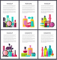 make up and perfume collection vector image