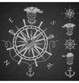 Sea emblem and a set of pirate elements vector image