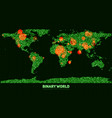 abstract binary world map continents vector image
