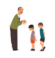 angry mature man scolding naughty boys man vector image vector image