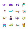 aviation icon set pop-art style vector image vector image