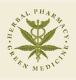 banner for green medicine with cannabis leaf vector image vector image