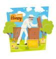beekeeping apiary bees and beekeeper vector image