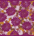 bold vintage floral purple and orange 70s vector image